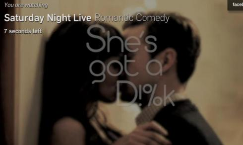 "Screen shot from SNL ""Romantic Comedy"""
